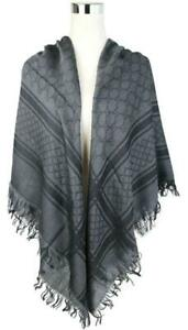 Gucci Graphite/Black Wool/Silk Shawl Scarf w/Diamante and GG Print 544615 1260