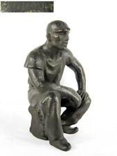 Sitzender Bergmann / Moderne Bronze, undeutlich signiert R....? / um1930-60