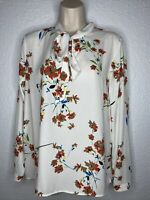 Forever 21 Floral Pussy Bow Tie Neck Long Sleeve Blouse Top Sz M NEW