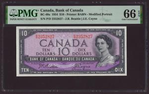 Canada 🇨🇦1954 - $10 Dollars Beatie|Coyne - PMG Gem UNC 66 EPQ **HIGH GRADE**