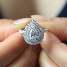 1.70 ct Pear Cut Diamond Halo Engagement Ring Sterling Silver Ring VVS1/D