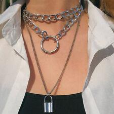 Gothic Lock Chain Necklace Multilayer Punk Choker Collar Pendant Neck_AUATAU