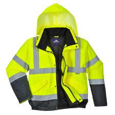 Portwest Hi Vis Men's Bomber Jacket in Yellow / Navy