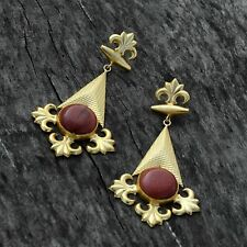 Woman Fashion Style Synthetic Sandstone Stone Gold Plated Dangle Earring Jewelry