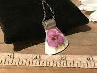 Recycled Broken Porcelain Jewelry, Vintage Purple Floral Pendant