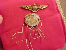 ORIGINAL WWII STERLING FULL SIZE NAVAL AVIATOR WINGS & T42 THUMBPRINT DOG TAG