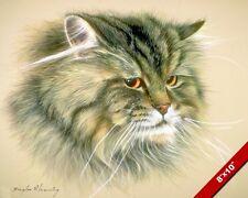 SIBERIAN CAT CUTE FURRY ANIMAL PAINTING WILDERNESS ART REAL CANVAS PRINT