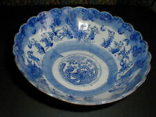 Meiji Period Japan Arita Imari Karako at Play Blue White Porcelain Bowl 1800s
