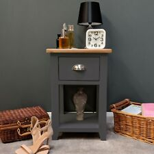 Painted Grey Lamp Table Oak Bedside Storage Unit / Solid Wood Lamp Table Haywood