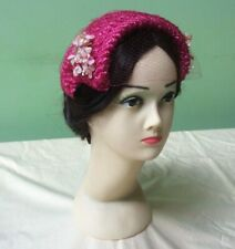 50s Vintage Hat. Pink Straw, Flowers and Veil. Goodwood