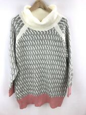 Very J Oversized Sweater Tunic Gray Pink Off White Size Medium