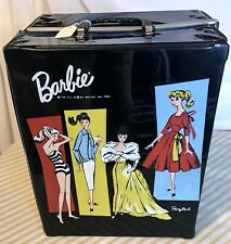Vintage 1961 BARBIE DOLL BLACK DOUBLE CASE WARDROBE TRUNK MATTEL PONYTAIL