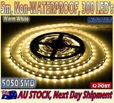 Flexible LED Strip Lights 5M 5050 SMD Warm White 300 Non-Waterproof Indoor Use