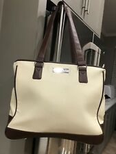 Clark And Mayfield Tote leather Handbag Laptop School Bag Classic Off White