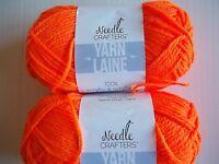Needle Crafters acrylic yarn, Pumpkin Orange (bright), lot of 2 (115 yds ea)