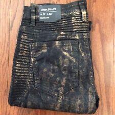 NORMCORE New Men's 33 X 33 Moto Style Biker Jeans-Black/Gold Wash Urban Slim Fit