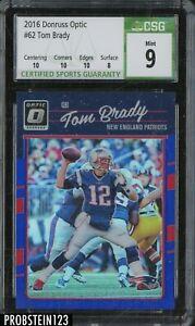 2016 Donruss Optic Blue Prizm #62 Tom Brady Patriots 127/149 CSG 9 w/ 10
