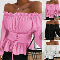 ❤️ Womens Ruffle Sexy Off Shoulder T-shirt Ladies Casual Long Sleeve Blouse Tops