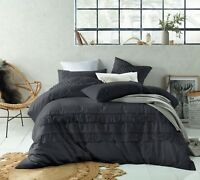 Boho Slate Grey Tassels Linen Cotton Quilt Doona Cover Set  Double Queen King SK