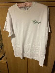 Mens White Afidas Originals T Shirt Green Adidas Motif On Back Size XL