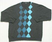 Claiborne Gray & Blue Sweater Top Mans V-Neck Long Sleeve 100% Cotton XXL 2XL