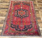 5'x8' Handmade wool Authentic Vintage Hamedan Geometric Oriental area rug