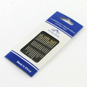 12pcs Self threading easy thread sewing needles mixed sizes pack silver