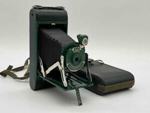 Vintage Kodak No. 1A Pocket Kodak Junior Folding Camera in Green w./ Case EUC