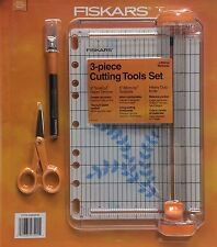 Fiskars 3-piece Cutting Set - Paper Trimmer, Micro-tip Scissors, Craft Knife NIP
