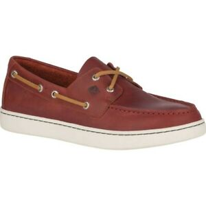 Sperry Men Lace Up Boat Shoes Cup 2-Eye Burgundy Leather