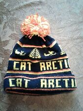 Arctic Cat Snowmobile Knit Hat Pom-Pom Orange Yellow Black Trees Vintage NICE