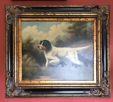 Oil Painting, Signed, Hunting Dog Pointer Pudelpointer, Gold Frame 30 X 34