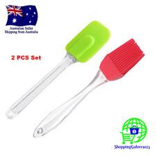 2 PCS Silicone Basting Brush Spatula Set Plastic Handles BBQ Cream Oil Pastry