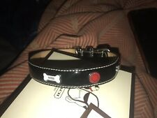 Coach Dog Collar XS Patent Leather Red Heart White Bones Bone 60064 Silver Black