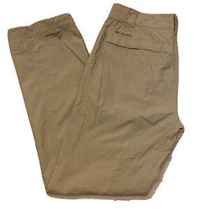 COLUMBIA MEN SIZE 34 x 32 INSECT BLOCKER KHAKI HIKING PANTS