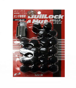 Project Kics 16 LUGS + 4 LOCKS Black Bullock And Nut Set - 12X1.50