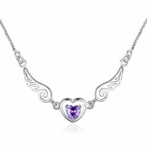 Angel Wing Heart Pendant Chain Necklace 925 Sterling Silver Womens Jewellery New