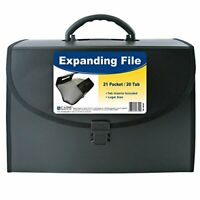 C-Line 21-Pocket Poly Expanding File with Handle, Includes Tabs, Locking Clos...