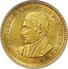 U.S. 1904 LEWIS & CLARK COMMEMORATIVE $1 DOLLAR GOLD COIN, CERTIFIED PCGS-AU58