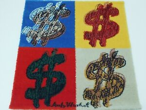 ANDY WARHOL genuine 1997 Ltd Ed pop art wall hanging/rug QUADRANT $ red/yellow
