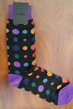 Duchamp London Men's Cotton Mix Socks Size Medium Star Dot Goya Black & Purple