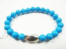 SIMON SEBBAG Cute Sterling Silver Genuine Blue Magnesite Beads Stretch Bracelet