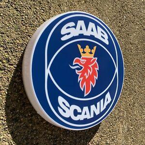 Saab Scania LED Mural Lumière Signe Logo Garage Automobilia Vabis Diable 9000