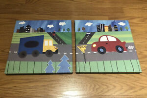🚗 OOPSY DAISY TOO Blue Truck and Red Car 2-Piece Canvas Wall Art 🚗