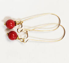 Red coral round beads 6mm with gold plated brass kidney earring