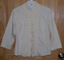Talbots Pale Yellow 3/4 Sleeve Loop Button Ruffle Front Shirt Sz M Petite