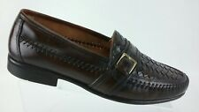 French Shriner Men's Leather Woven Buckle Strap Loafer 10 M Brown Slip On  R4S1