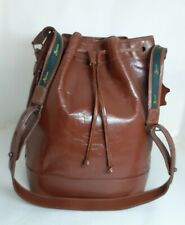 FORTUNE DUCK Genuine Cowhide Leather Drawstring Bucket Bag Authentic