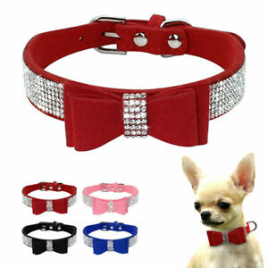 Adjustable Dog Collar Bow Gentle-Dog Collar Pet PU Leather Rhinestone Diamante
