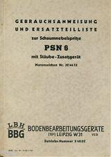 LBH Leipzig Gebrauchsanweisung Ersatzteilliste zur Schaumnebelspritze PSN 6